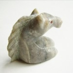 Gray Quartz Carved Horse Head