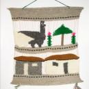 Woven Wool Bolivian Llama & Houses Scene