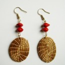 Golden Grass Earrings with Amazon (Red Tento) Seeds