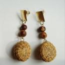 Golden Grass Earrings with Amazon (Açai) Seeds