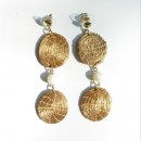Golden Grass Earrings with White Beads