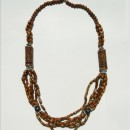 Long Necklace Made with Wood & Metal Beads