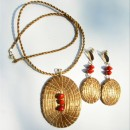 Set of Necklace & Earrings Made with Brazilian Golden Grass