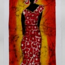 Batik of Lady in Red Dress